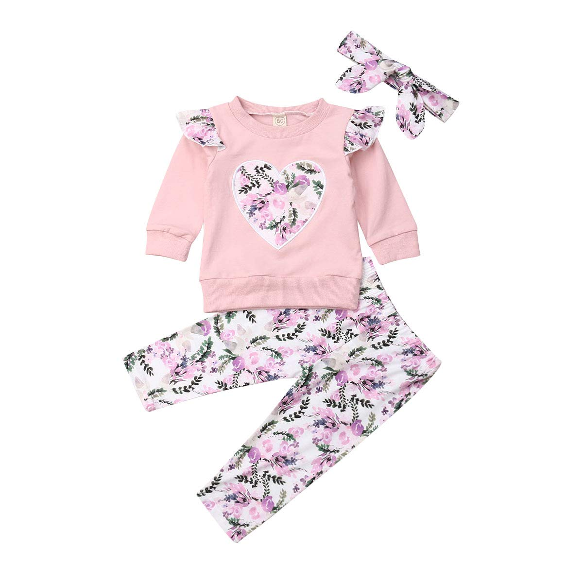 Baby Girl Clothes 1-4T Girls Long Sleeve Shirt Top Floral Leggings Pants Headband 3pcs Spring Outfits