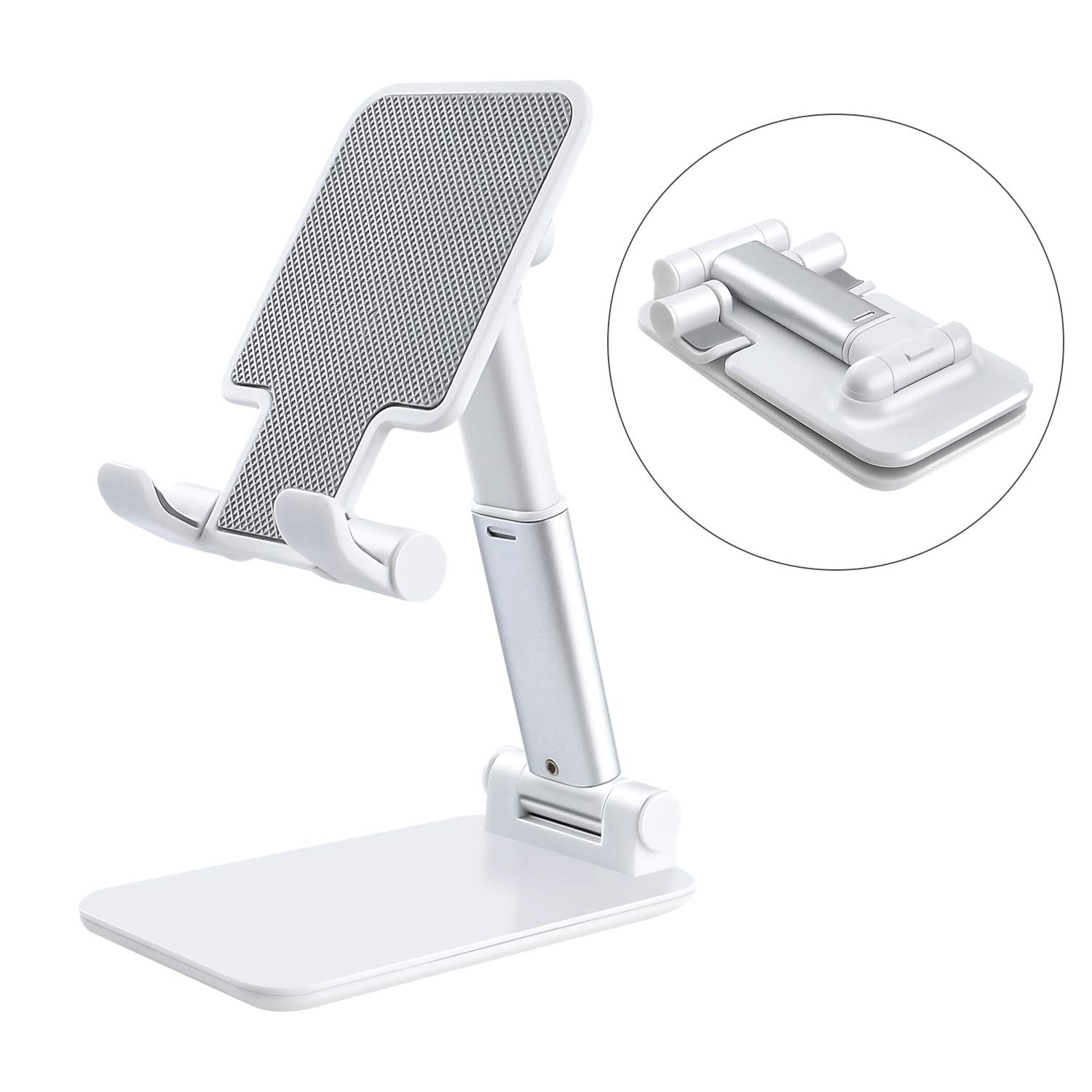 """Adjustable Cell Phone Stand, Fully Foldable and Portable Tablet Stand for Desk, Compatible with iPhone 11 Pro Xs Xs Max Xr X 8, iPad Mini, Nintendo Switch, Tablets (≤7.9""""), All Phones (White)"""