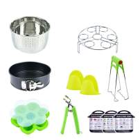 Accessories Kit For Instant Pot: 10 Pieces - Springform Cake Pan/Steamer Basket/Egg Steamer Rack/Silicone Egg Bites Molds/Oven Mitts/Food Tongs/Magnetic Cheat Sheets Compatible with 6,8 Qt Instant Pot