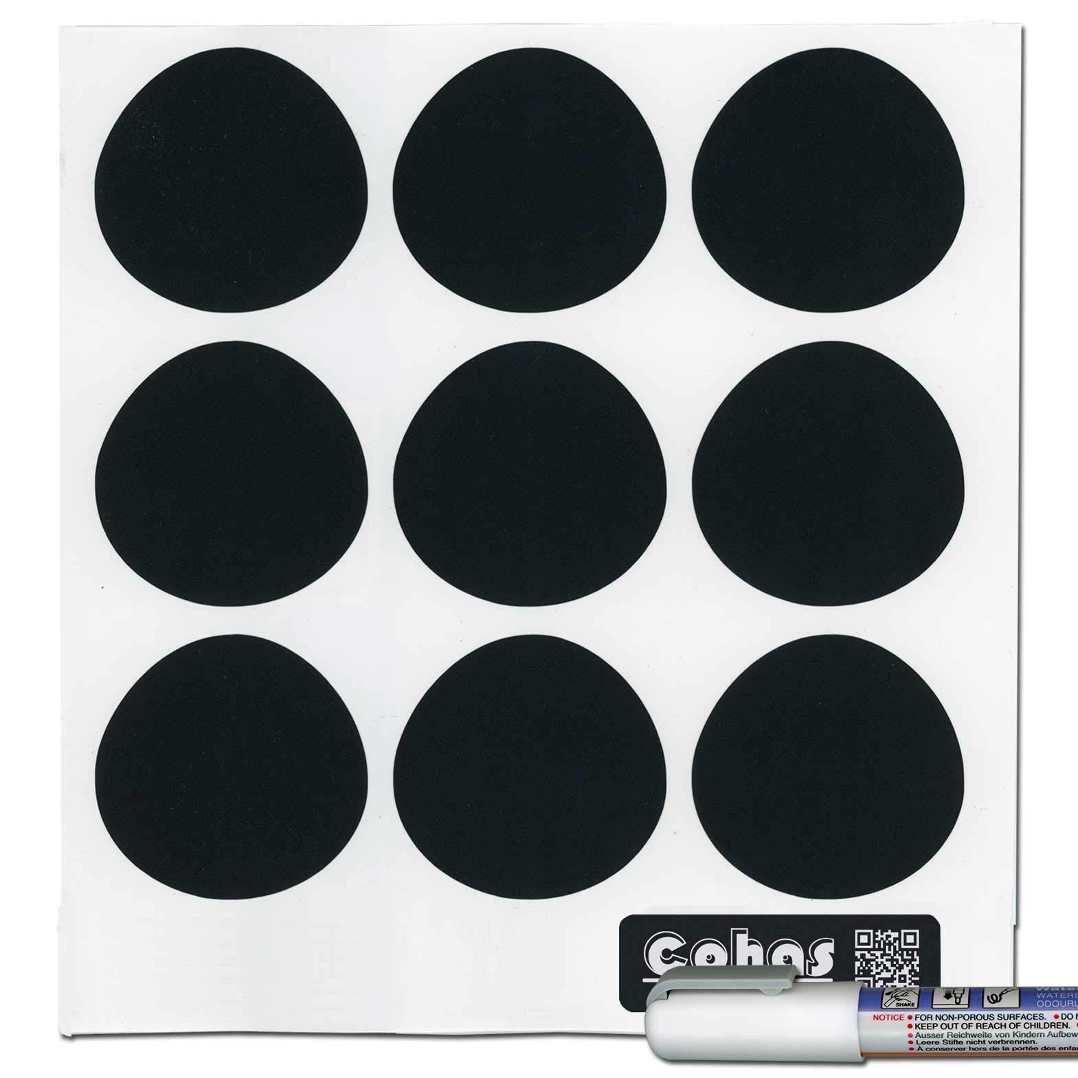 Cohas Chalkboard Labels for Ikea RAJTAN Spice Jars includes Liquid Chalk Marker and 27 Labels, Fine Tip, White Marker