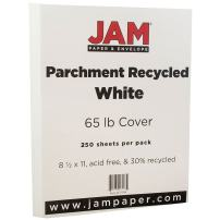 JAM PAPER Parchment 65lb Cardstock - 8.5 x 11 Coverstock - White Recycled - 250 Sheets/Ream