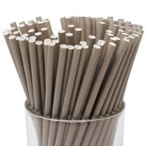 Just Artifacts 100pcs Premium Biodegradable Solid Paper Straws (Solid, Gray)