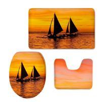 Sunset Bath Mat,Bathroom Scenery Sailboat Carpet Rug,Non-Slip 3 Piece Bathroom Mat Set CHAQLIN