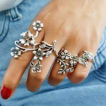 Nicute Vintage Finger Ring Silver Carved Flower Stackable Joint Knuckle Rings Set Boho Hand Accessories for Women and Girls(4 Pieces)