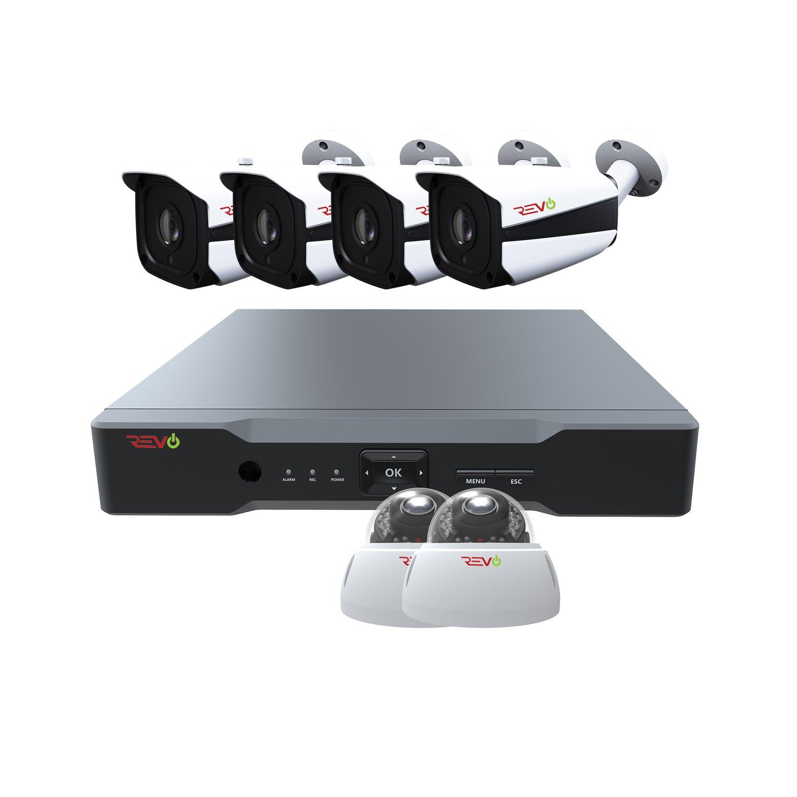 Revo America AeroHD 8Ch. 5MP DVR, 2TB HDD Video Security System, 4 x 5 MP IR Bullet Cameras, 2 x 5 MP IR Vandal Dome Cameras Indoor/Outdoor - Remote Access via Smart Phone, Tablet, PC & MAC