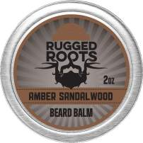 Beard Balm for Men by Rugged Roots - Hair Nourishing Beard Balm with Amber Sandalwood Scent for Healthy Shiny Beards - Encourage Beard Growth and Strengthen Hair - Unique Stocking Stuffers for Men