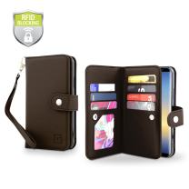 Gear Beast Galaxy Note 8 Wallet Case, Flip Cover Dual Folio Case Slim Protective Top Grain Leather Case 7 Slot Card Holder Including ID Holder Inner Pockets Wristlet for Men and Women with RFID