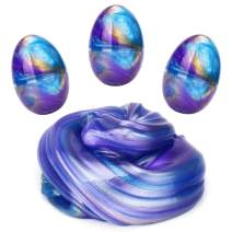 LAWOHO Fluffy Slime Colorful Easter Egg Slime Stress Relief Sludge Toys Gifts for Kids Easter Basket Stuffers Birthday Party Favors 3 Pack 6 OZ