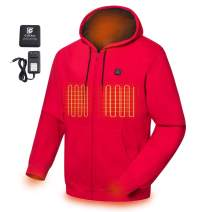 COLCHAM Heated Hoodie Soft Fleece with Battery and Charger (Unisex)