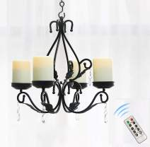 GiveU 3 in 1 Lighting Chandelier Chain Hang Metal Wall Sconce With 4pcs Battery Operated Led Candle With Remote, Table Centerpiece for Indoor or Outdoor Gazebo,Patio Decoration, Black