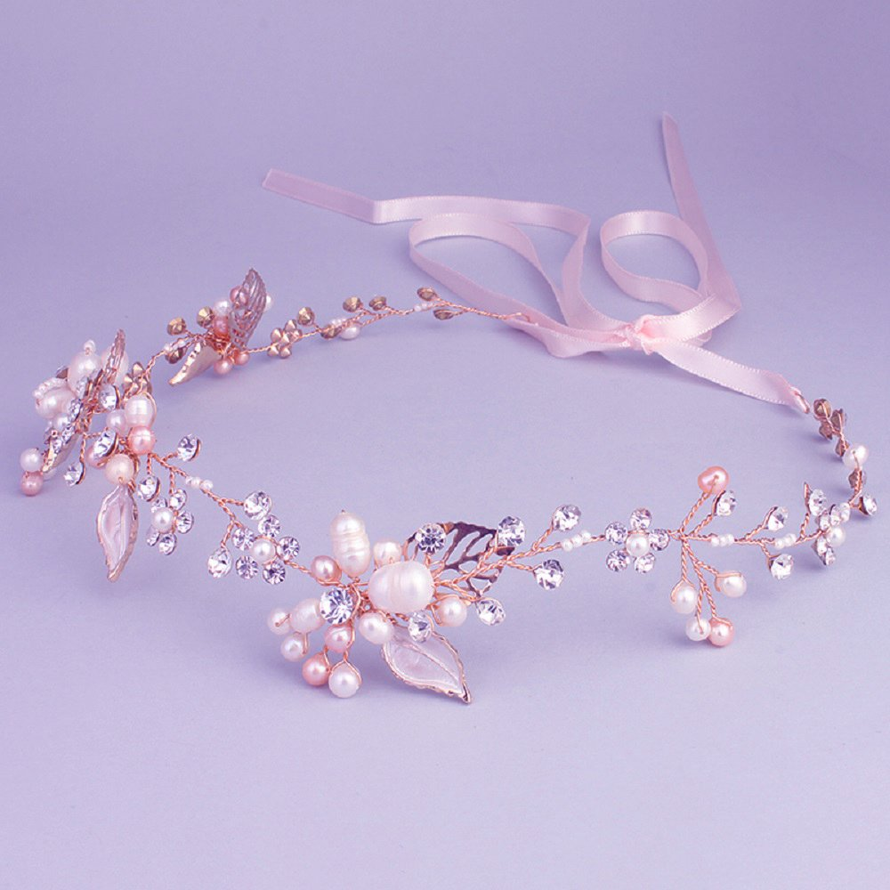Oriamour Bridal Crystal Headband with Freshwater Pearls Flower Design Wedding Hair Accessories (Rose Gold)