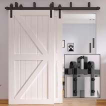 Winsoon 4FT-16FT Metal Sliding Bypass Barn Wood Door Hardware Kit System Bending Design Wall Mount Bracket Fit Double Wooden Doors New Style (4FT)
