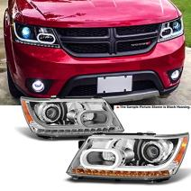 For 2009 2010 2011 2012 2013 2014 Dodge Journey Replacement Pair Light Tube Projector Chrome Headlights