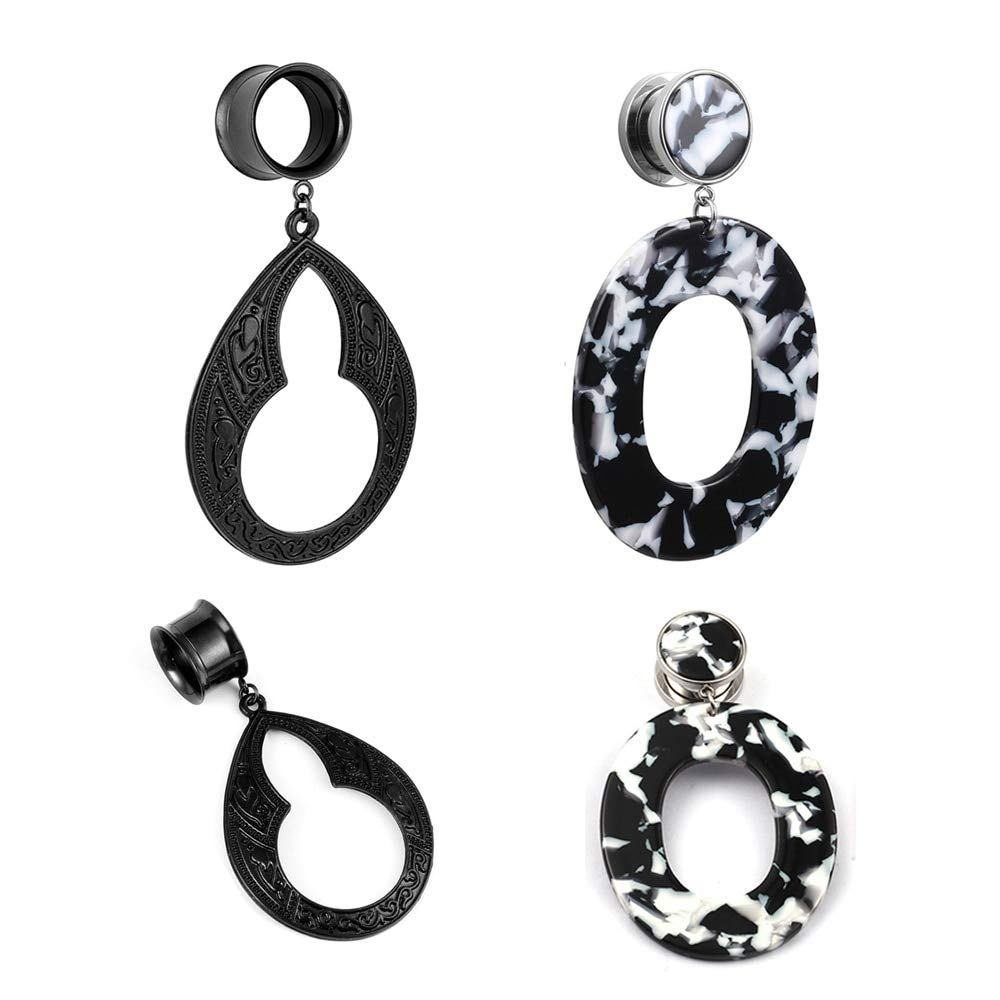 2 Pairs LADEMAYH Ear Tunnels and Plugs Gauges Dangle Fashion Pendant Earrings, Black Stainless Steel Ear Gauge Piercing Jewelry for Women Girls