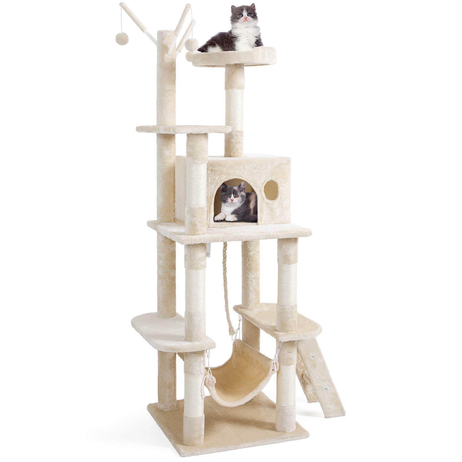 "JOYO Cat Tree Tower, 58"" Cat Tower Multi-Level Cat Tree House with Sisal-Covered Scratching Posts, Top Perch, Ladder and Hammock, Cat Activity Tree, and Condo Furniture for Kittens Pet House Play"