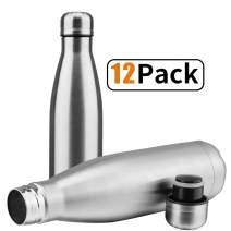 JEAREY Water Bottle Stainless Steel 17oz BPA Free Leak Proof Cola Shape Flask Kids Thermoses for Sports Travel Outdoor (Stainless Steel 12pc)
