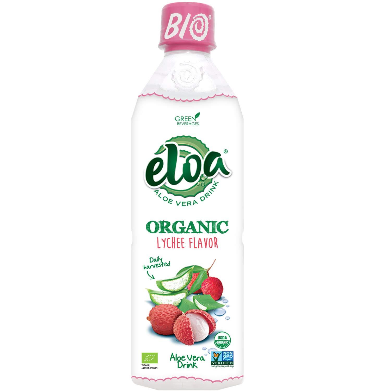 ELOA Organic Lychee Flavored Water Aloe Vera Pulp, Natural Fresh Fruit Flavor Vegan Clean Gluten Free Non GMO Healthy Refreshing Tasty Juice Alternative Infused Drink Beverage, 12 Pack Count