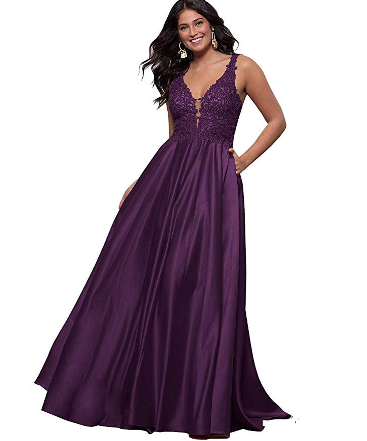 Stylefun Women's Prom Dresses A Line Long Lace V Neck Satin Formal Evening Gowns with Pockets HD29
