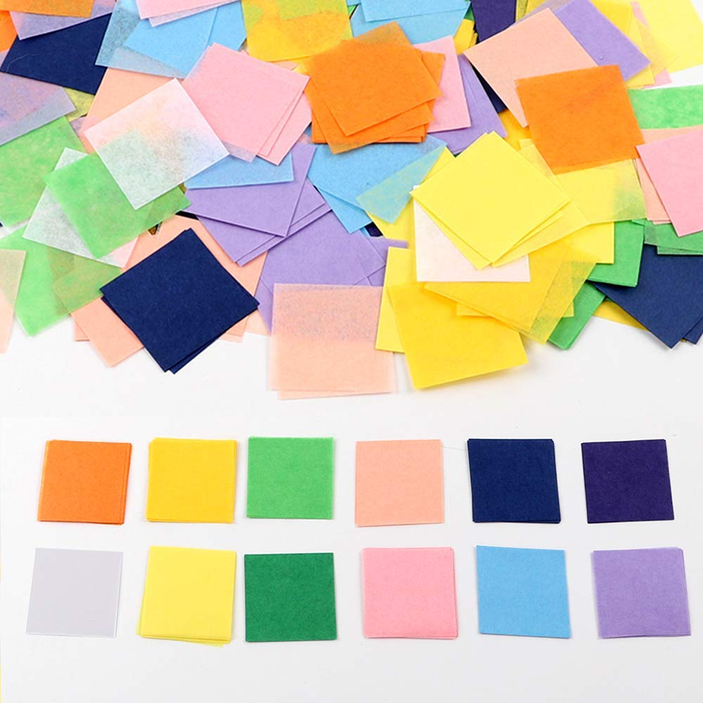 Outuxed 4800pcs 1inch Tissue Paper Squares, 12 Assorted Colors for Arts Craft DIY Scrapbooking Scrunch Art