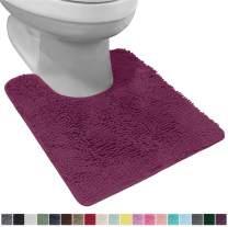 Gorilla Grip Original Shaggy Chenille Oval U-Shape Contoured Mat for Base of Toilet, 22.5x19.5 Size, Machine Wash and Dry, Soft Plush Absorbent Contour Carpet Mats for Bathroom Toilets, Eggplant