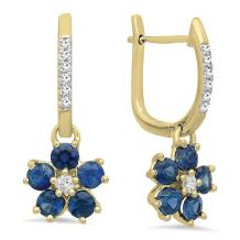 Dazzlingrock Collection 14K Round Blue Sapphire & Diamond Ladies Cluster Flower Dangling Drop Earrings, Yellow Gold