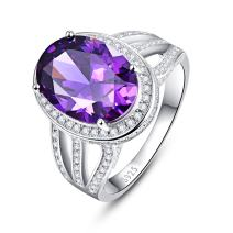 BONLAVIE Vintage 10.2ct Created Purple Amethyst Engagement Ring 925 Sterling Silver for Women