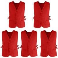 TOPTIE Supermarket Volunteer Vest Unisex Cobbler Apron with Two Front Pockets (5 Packs)