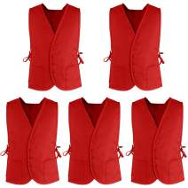 TOPTIE Supermarket Volunteer Vest Unisex Cobbler Apron with Two Front Pockets (5 Packs)