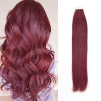 Sassina Remy Human Hair Extensions Semi-permanent Tape in Hair Merlot Color Invisible Skin Wefts 50 Grams With 20 Pieces Colored PU Glue in Extensions (#530 16inch)