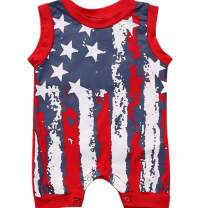 Ritatte Newborn Infant Baby Boy Girl American Flag Stars and Stripes Romper Clothes Outfit