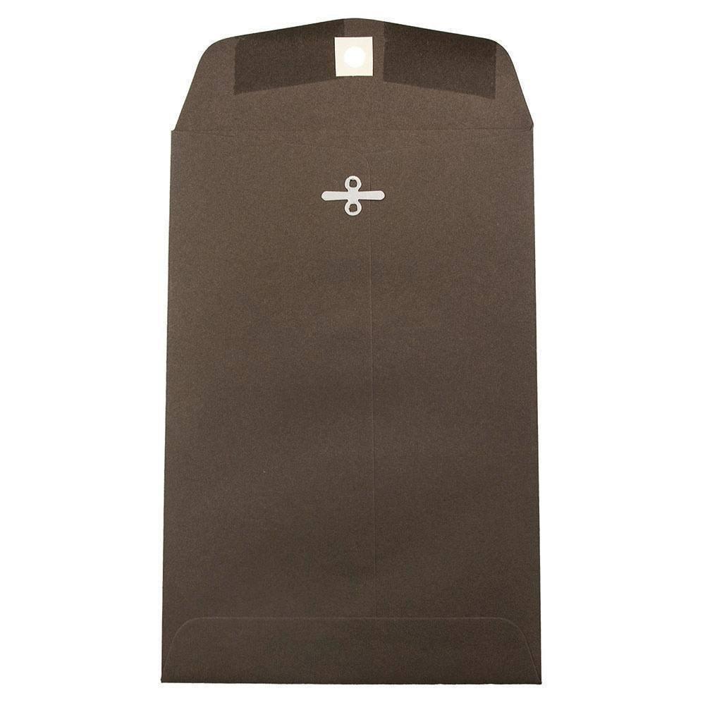 JAM PAPER 6 x 9 Premium Invitation Envelopes with Clasp Closure - Chocolate Brown Recycled - Bulk 250/Box