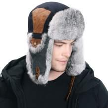 Jeff & Aimy Unisex Winter Trapper Hat Lumberjack Rabbit Real Fur Hunting Earflap Windproof Ushanka Russian Snow Ski 55-61CM