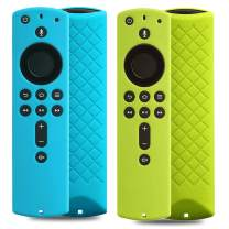 2 Pack Covers for All-New Alexa Voice Remote for Fire TV Stick 4K, Fire TV Stick (2nd Gen), Fire TV (3rd Gen) Shockproof Protective Silicone Case (Sky+Green)