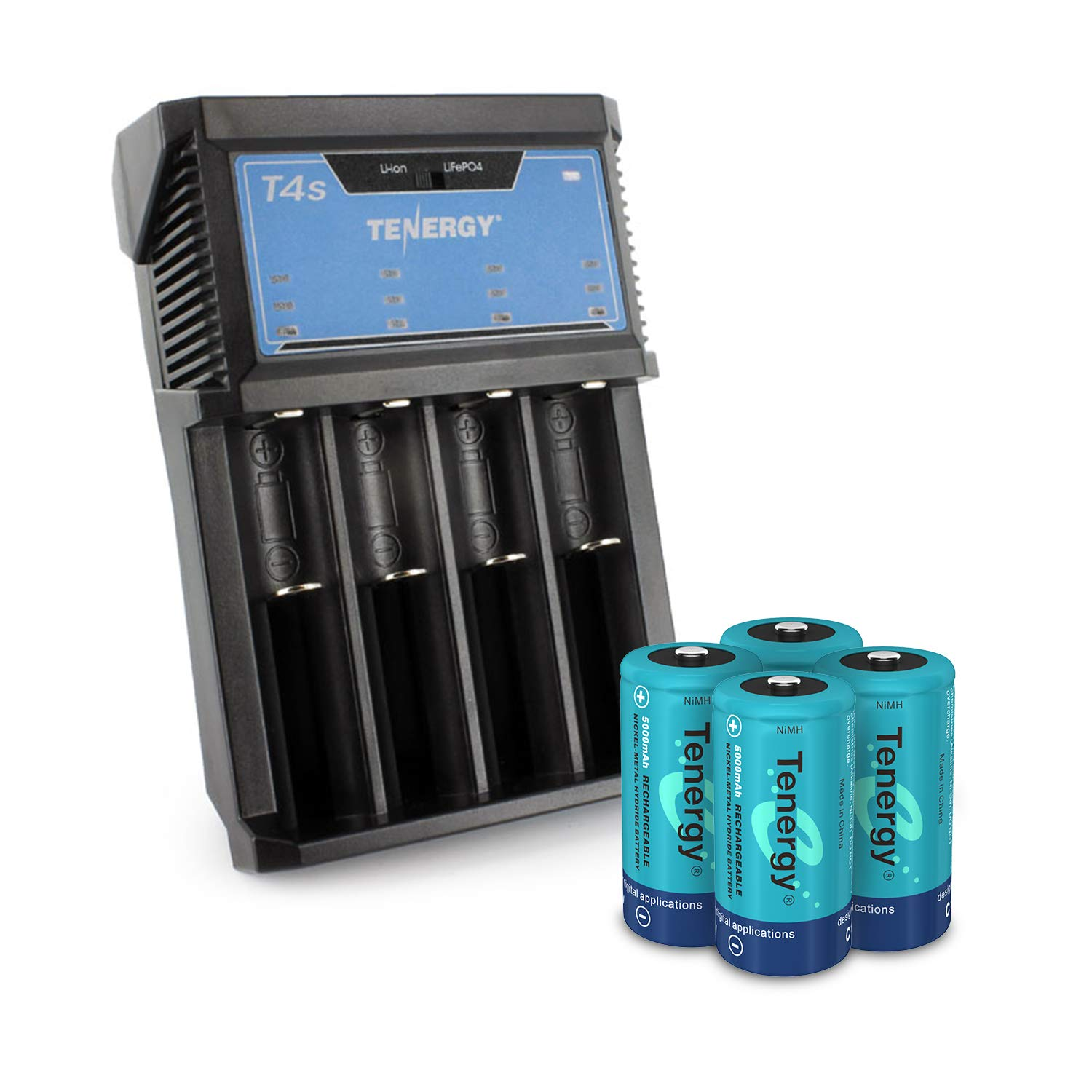 Tenergy Rechargeable NiMH C Batteries and T4s Battery Charger for Li-ion/NiMH/NiCd AA/AAA/C/18650 Batteries, 4 Pack C Size Battery Cells and Charger with Car Adapter