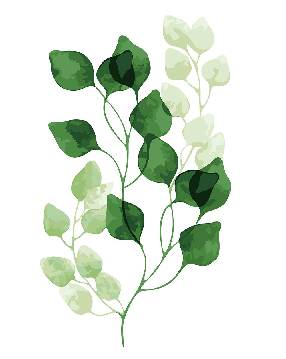"""Various Leaf Series Paint by Numbers for Adults Kids Beginners Easy Acrylic on Canvas 16""""x20""""with Paints and Brushes, Green Leaves (Without Frame)"""