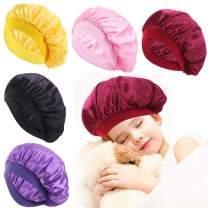 5 Pieces Kids Satin Bonnets Wide Band Silk Bonnet Night Sleep Cap Toddler Hair Bonnet Sleeping Hat For Natural Hair Kids Children Infant Newborn Babies Girls