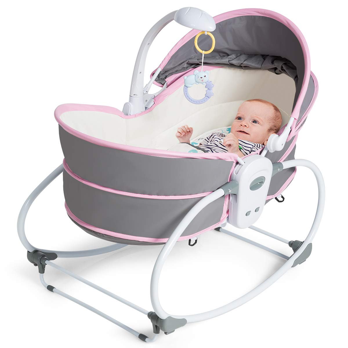 Costzon 5 in 1 Baby Cradle Swing, Portable Newborn Gliding Bassinet with Detachable Canopy Music Toys Vibration, Rocking Infant Crib Sleeping Chair for Travel (Pink and Gray)