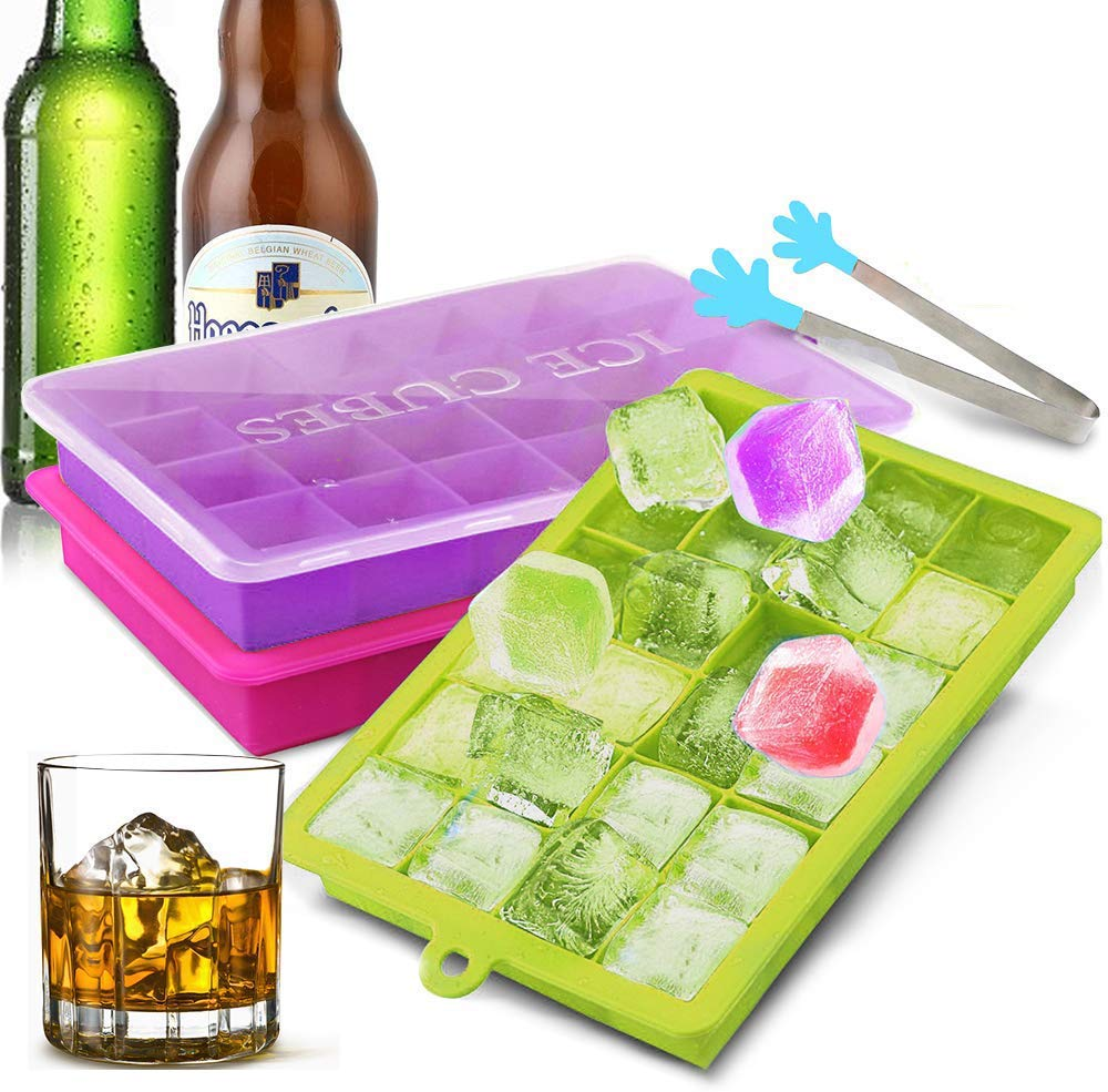 EZCO Silicone Ice Cube Molds (3-Pack), Ice Cube Trays Square Easy Release 24 Cavity BPA Free Ice Makers with Lid for Ice, Whiskey, Cocktail, Candy, Chocolate