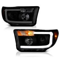 VIPMOTOZ Neon Tube Projector Headlight Assembly For 2007-2013 Toyota Tundra & 2008-2017 Sequoia - Matte Black Housing, Smoke Lens, Driver and Passenger Side