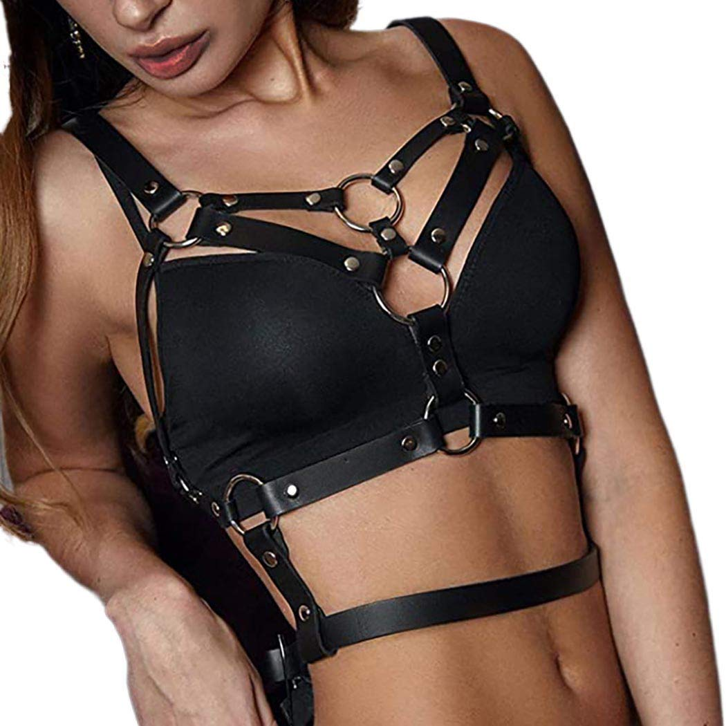 deladola Leather Body Harness Chest Chain Punk Black Bra Caged Harness Bra Chains Nightclub Party Performance Rave Belly Belts Body Accessories for Women and Girls