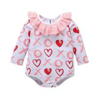 NewZhu Valentine's Day Baby Girl Sister Matching Outfits Heart Print Ruffle Bodysuit Romper Kids Girls Striped Dress Clothing