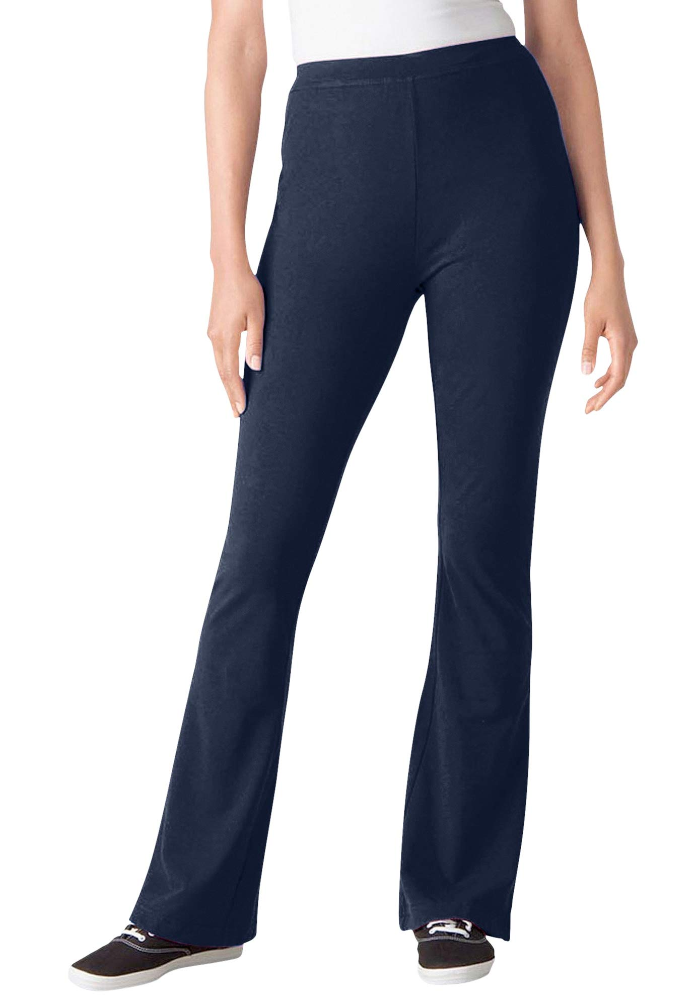 Woman Within Women's Plus Size Stretch Cotton Bootcut Yoga Pant