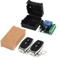 QIACHIP 433Mhz Universal Wireless Remote Control Switch (2 Transmitters 2 Button+ 1 Receiver 1CH)
