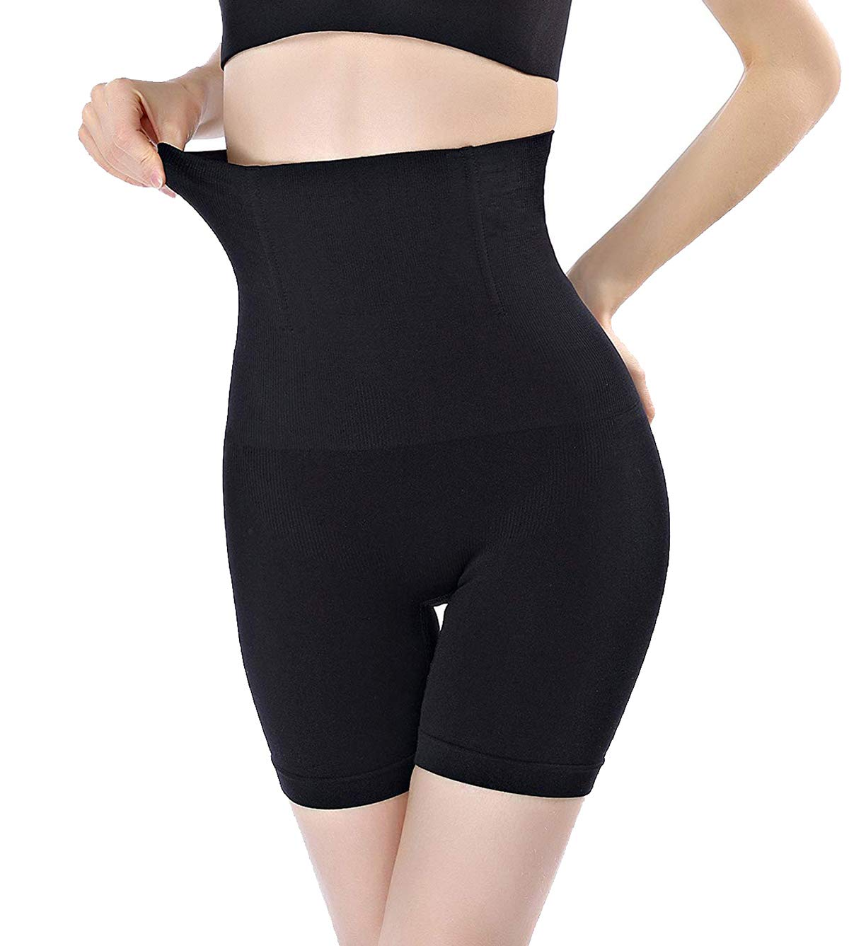 FOCUSSEXY High Waist Shapewear for Women Tummy Control Thong Bodyshorts Thigh Slimmers Panties