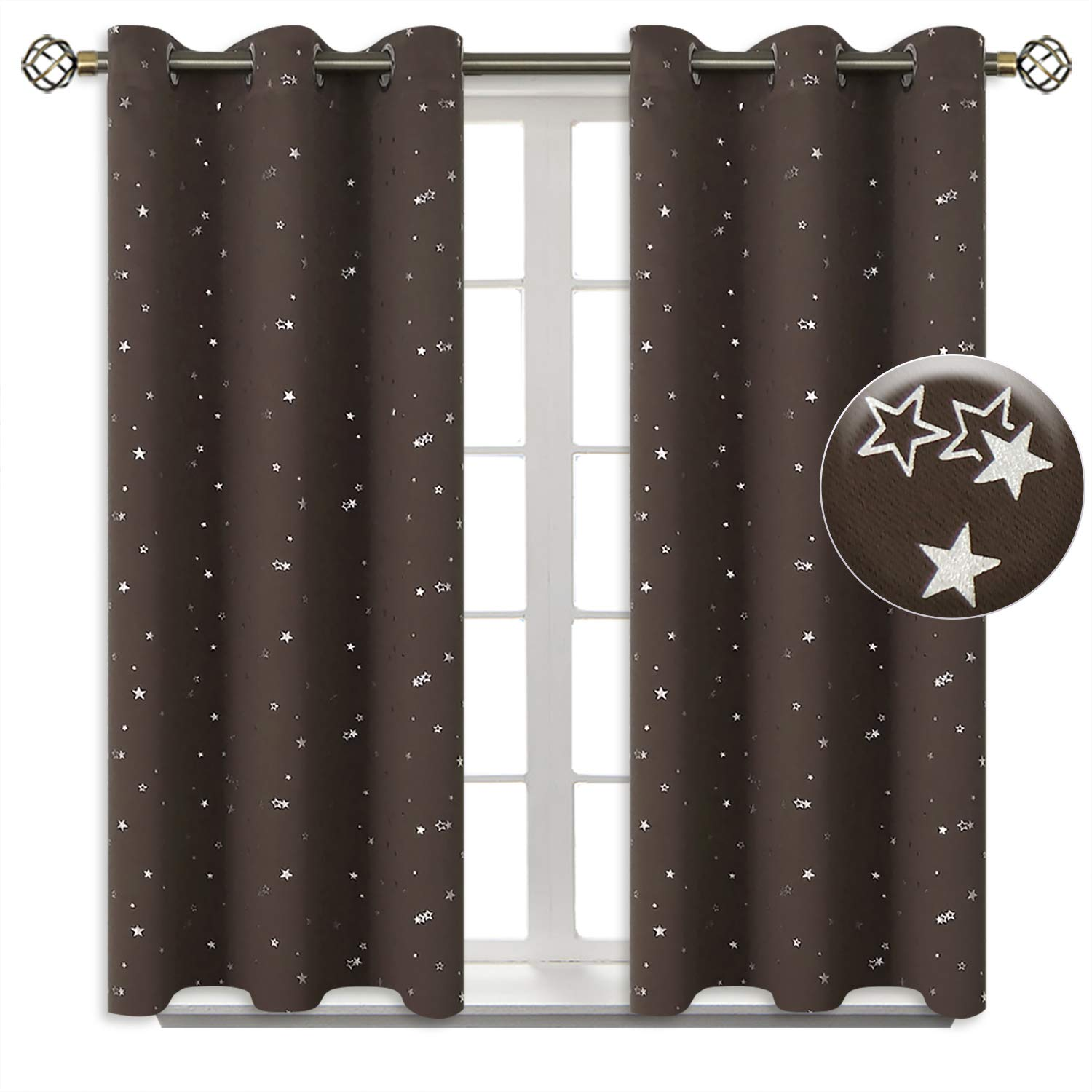 BGment Kids Blackout Curtains for Bedroom - Grommet Thermal Insulated Silver Star Print Room Darkening Curtains for Living Room, Set of 2 Panels (38 x 54 Inch, Brown)