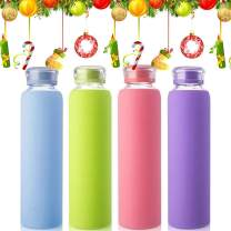 MIU COLOR Glass Water Bottles, for Beverage, Drinking, Juice Bottle, Milk Container, to Go Sports, 16 oz, BPA Free, 2 Pack, 3 Pack, 4 Pack