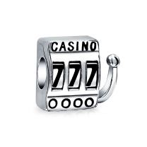 Las Vegas Travel Lucky 777 Jackpot Casino Slot Machine Charm Bead For Women Sterling Silver Fits European Bracelet