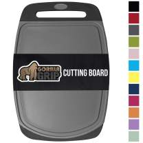 GORILLA GRIP Original Oversized Cutting Board, Large Size, 16 Inch x 11.2 Inch, BPA Free, Juice Grooves, Thick Board, Easy Grip Handle, Dishwasher Safe, Non Porous, Kitchen, Professional, Gray Black