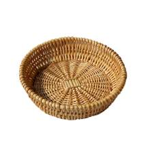Natural Wicker Basket Fruit Bread Basket Tray Storage Basket Willow Handwoven Basket Fruit Vegetables Serving Basket, Round Stackable Basket
