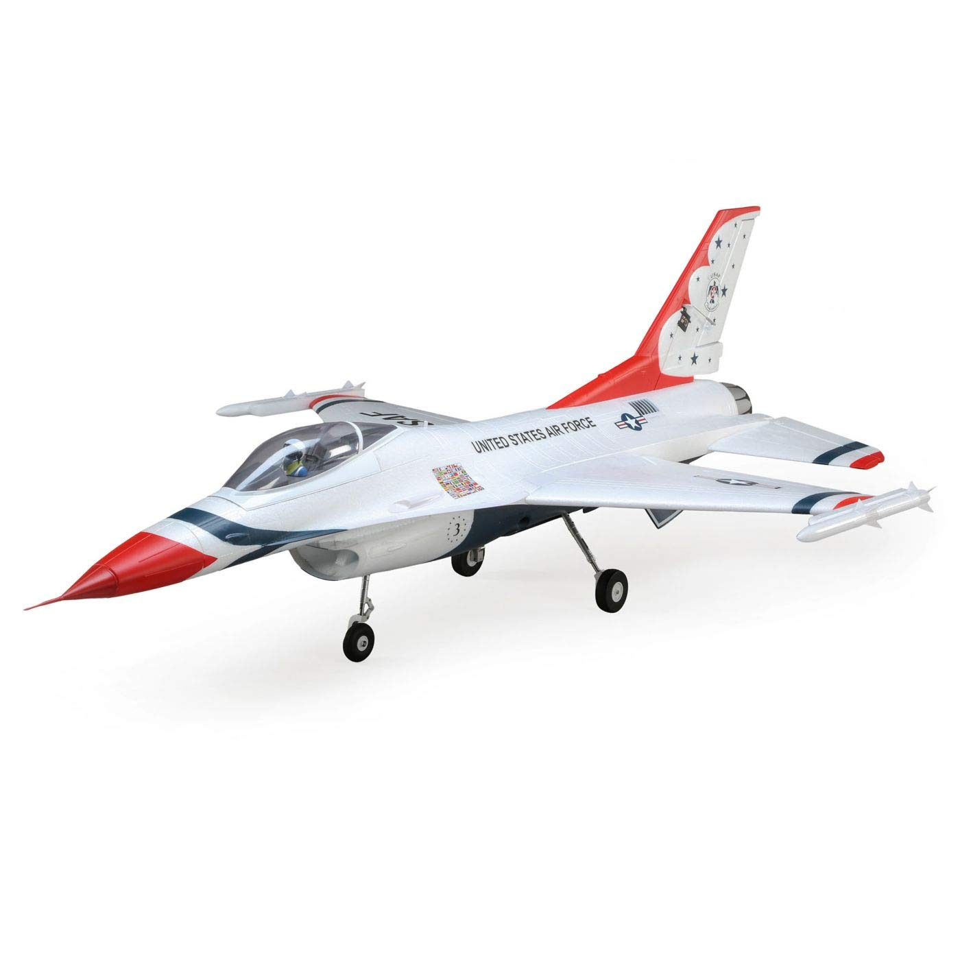 E-flite RC Airplane F-16 Thunderbirds 70mm EDF BNF Basic (Transmitter, Battery and Charger not Included) with AS3X and Safe Select, 815mm, EFL7850